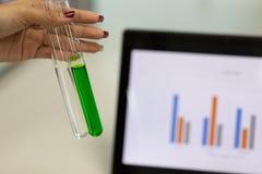Analyse van experimentele resultaten in laboratorium stock afbeeldingen
