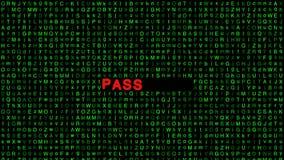 Analyse van groene brieven achtergrond en het halen van een wachtwoord stock videobeelden