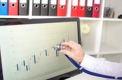Analyse von Börsediagrammen mit einem Stethoskop Stockfotos