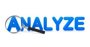 Analyseer - Blauw 3D Word door een Vergrootglas. Stock Afbeeldingen