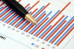 Analyseer de tendens in de bedrijfsgrafiek Stock Afbeelding