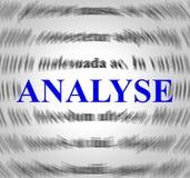 Analyseer Definitie vertegenwoordigt Gegevens Analytics en Analyse stock illustratie