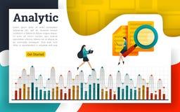 Analyseer documenten en verklaar op analytische diagrammen stock illustratie