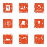 Analyseer geplaatste pictogrammen, grunge stijl vector illustratie