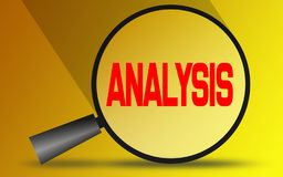 Analyseer woord met vergrootglas vector illustratie