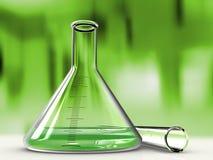 Analysendestillierkolben und Reagenzglas Stockbilder
