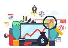 Analysenetzanalytik und Statistiken der wirtschaftlichen Entwicklung stock abbildung