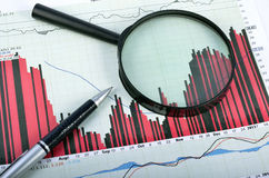 Analysering av aktiemarknaden arkivbild
