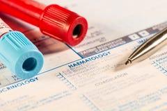 Analyses de sang hématologiques Photo libre de droits