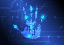 Analysieren der Hand mit Scanner Stockfotografie