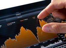 Analysieren des Börseen-Diagramms Stockfotografie