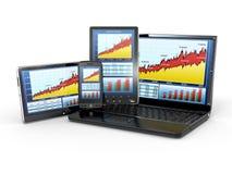 Analysieren Sie Diagramm am Laptop, am Tablette-PC und am Telefon lizenzfreie abbildung