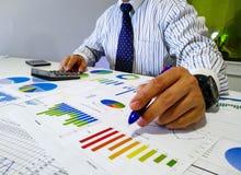 Analysieren von von Einkommensdiagrammen und -diagrammen mit Taschenrechner Abschluss oben Geschäftsfinanzanalyse und Strategieko Stockbilder