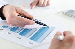 Analysieren von wachsenden Ergebnissen Lizenzfreies Stockbild