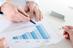 Analysieren von wachsenden Ergebnissen Stockbilder