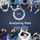 Analysing Data Loading Progress Bar Concept. People Analysing Data Loading Progress Bar Stock Image