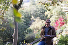 Analysing Nature with Digital Tablet Stock Photography