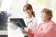 Analysing x-ray. Female doctor analysing x-ray with senior patient at small clinic royalty free stock photos