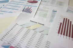 Analysing reports. Analysing papers reports trends charts Stock Images