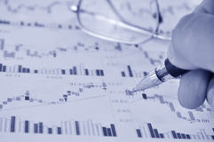 Analysing share prices Stock Images
