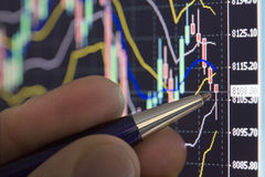 Analysing stock chart on computer screen royalty free stock photo