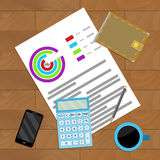 Analysis accounting profit. Vector business review statistic, statistical flowchart presentation illustration Royalty Free Stock Photo