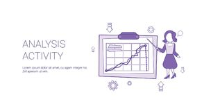 Analysis Activity Web Banner With Copy Space Business Finance Research Concept. Vector Illustration Royalty Free Stock Photos