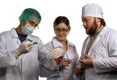 Analysis of blood. Image about three colleagues - doctors in hospital Stock Images