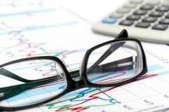 Analysis of business graphs. Stock Photography