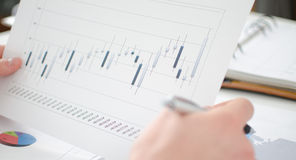 Analysis of business graphs Royalty Free Stock Image
