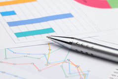 Analysis of business graphs Royalty Free Stock Photo