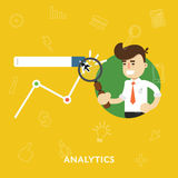 Analysis business results of concept research. Of graphs flat abstract isolated vector illustration Stock Image