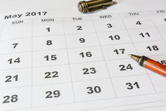Analysis of a calendar May royalty free stock photography