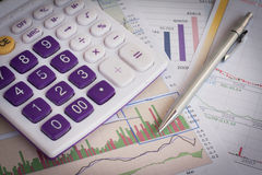 Analysis charts and graphs. Of sales - successful corporate business Stock Image
