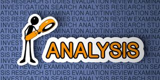 Analysis Concept. Cartoon Character with Magnifying Glass on Blue Background. 3D Render Royalty Free Stock Photo
