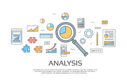 Analysis Concept Finance Diagram Infographic Magnifying Glass Set Thin Line Collection. Vector Illustration Royalty Free Stock Image