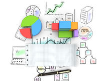 Analysis concept. Financial graphs and charts analysis as concept Stock Photos