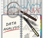 Analysis concept. Financial graphs and charts analysis as concept Stock Images