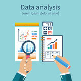 Analysis of concept in flat design. Process research financial growth, graph statistics, data analysis, business document,  market, strategic, annual reports Royalty Free Stock Photo