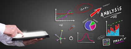 Analysis concept with man using a tablet Royalty Free Stock Photography