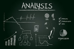 Analysis concept sketched on blackboard. With hand drawn financial elements Stock Photography