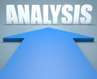 Analysis. 3d render concept of blue arrow pointing to text Royalty Free Stock Photos