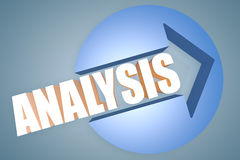 Analysis. 3d text render illustration concept with a arrow in a circle on blue-grey background Royalty Free Stock Photo
