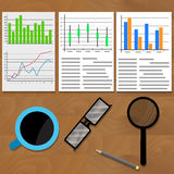 Analysis of data charts and graphs. Diagram statistic infographic, business workspace, vector illustration Stock Photo