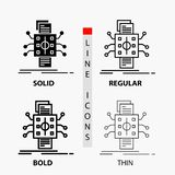 Analysis, data, datum, processing, reporting Icon in Thin, Regular, Bold Line and Glyph Style. Vector illustration. Vector EPS10 Abstract Template background royalty free illustration