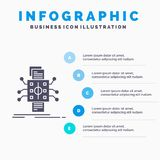 Analysis, data, datum, processing, reporting Infographics Template for Website and Presentation. GLyph Gray icon with Blue. Infographic style vector stock illustration