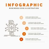 Analysis, data, datum, processing, reporting Infographics Template for Website and Presentation. Line Gray icon with Orange. Infographic style vector royalty free illustration