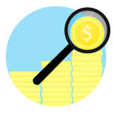 Analysis of finance flat icon vector. Golden stack coin and business management illustration Royalty Free Stock Photo