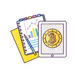 Analysis of finance. Flat line style vector illustration. Concept for business analysis, consulting, and financial audit. Bitcoin and cryptocurrency sigh Stock Photos