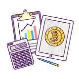 Analysis of finance. Flat line style vector illustration. Concept for business analysis, consulting, and financial audit. Bitcoin and cryptocurrency sigh Stock Image
